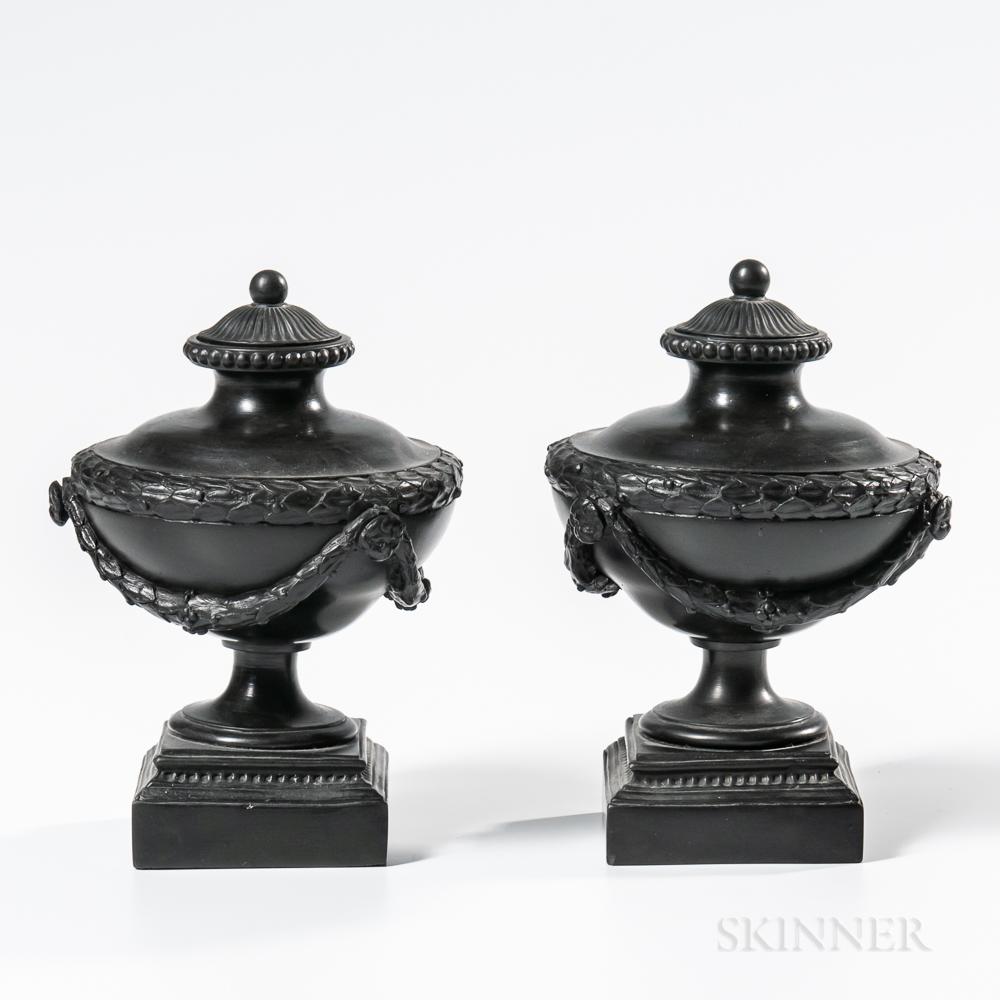 "Pair of Wedgwood & Bentley Black Basalt ""Sugar Dish"" Vases and Covers"