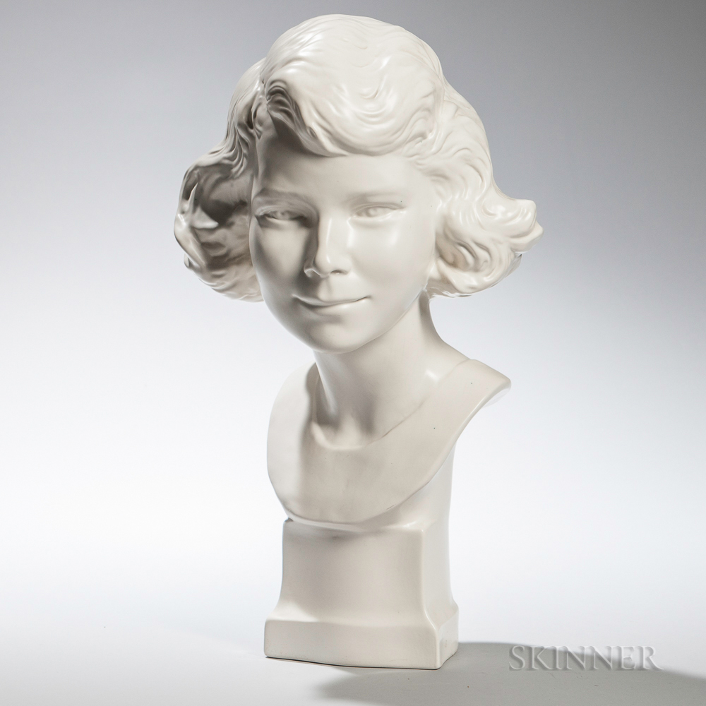 Wedgwood Moonstone-glazed Bust of Young Queen Elizabeth II