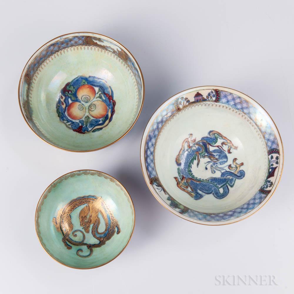 Three Wedgwood Dragon Lustre Bowls