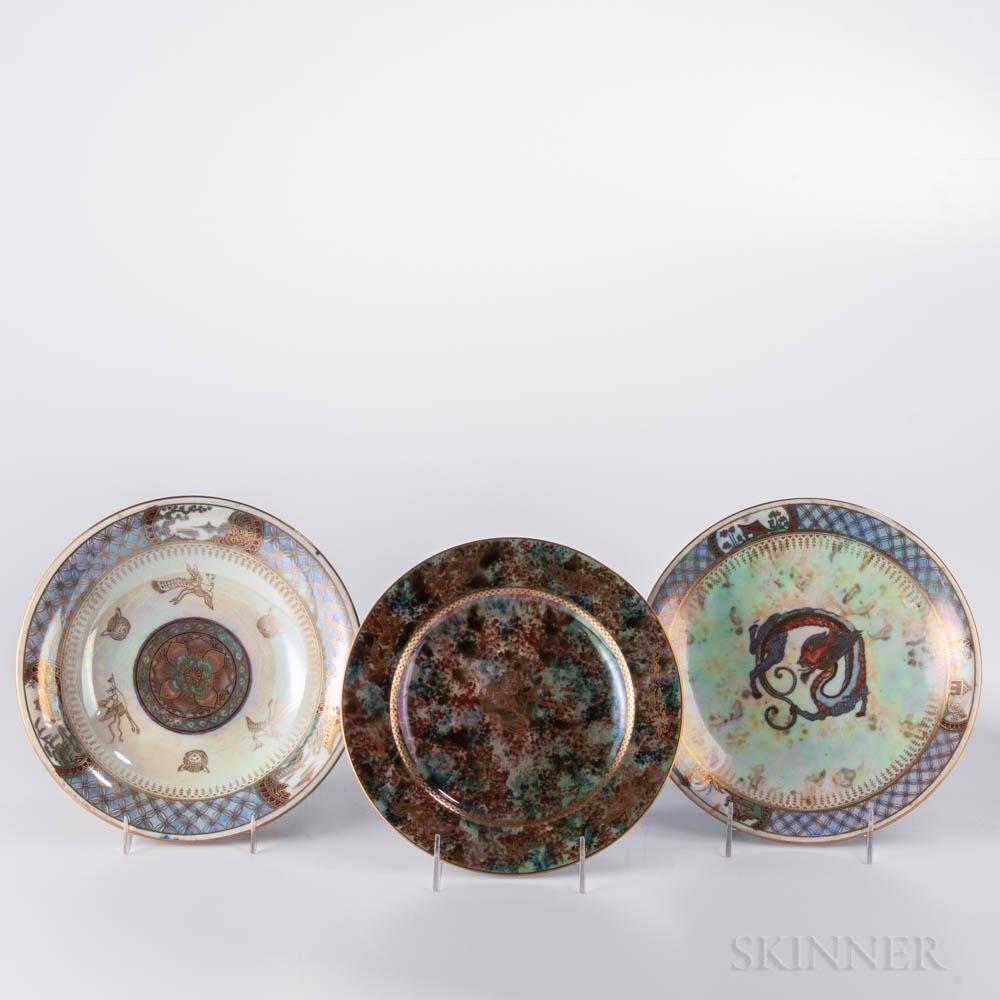 Three Wedgwood Lustre Plates