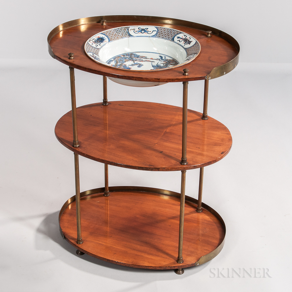 Mahogany and Brass Washstand with Chinese Export Porcelain Basin