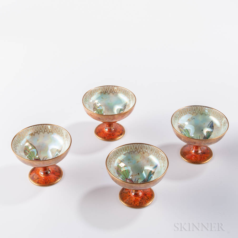 Four Wedgwood Butterfly Lustre Melba Cups