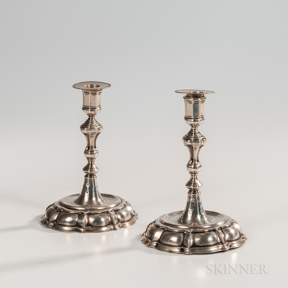 Pair of German Silver Candlesticks