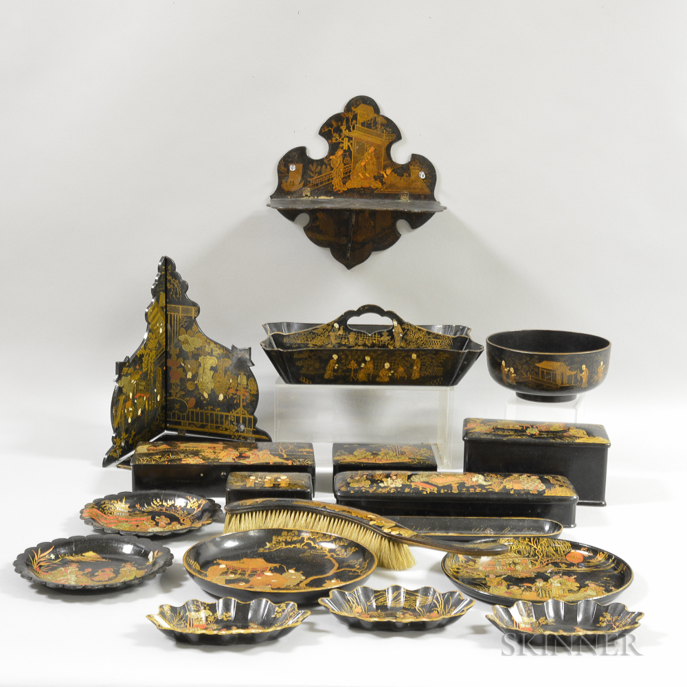 Eighteen Lacquered Chinioserie-decorated Tableware Items