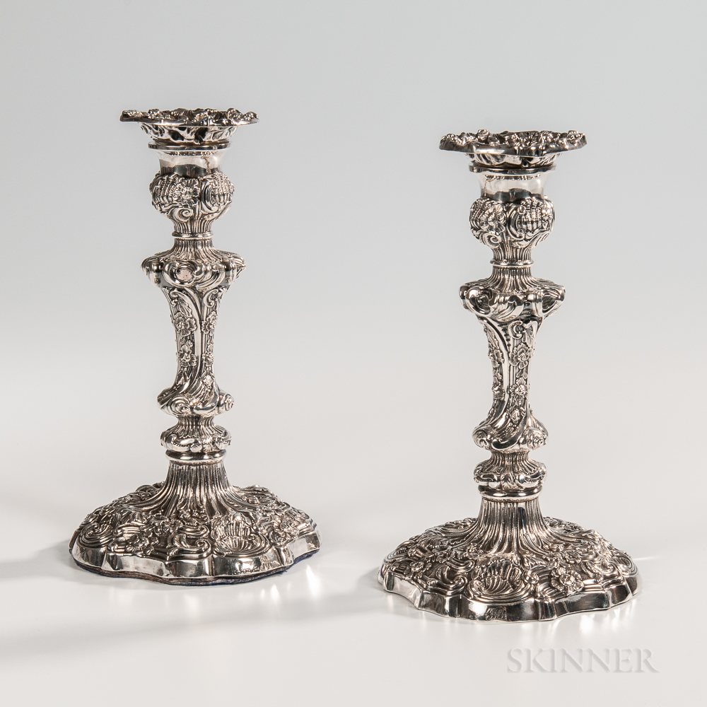 Pair of George IV Sterling Silver Candlesticks