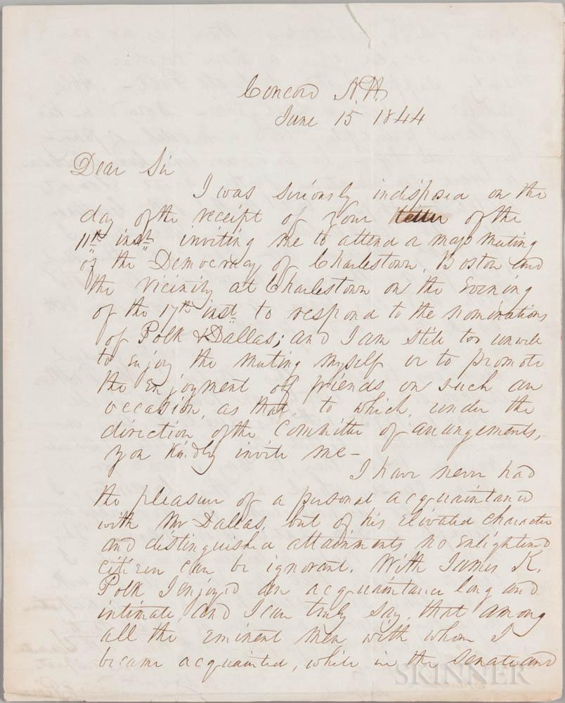 Pierce, Franklin (1804-1869) Autograph Letter Signed, Concord, New Hampshire, 15 June 1844.