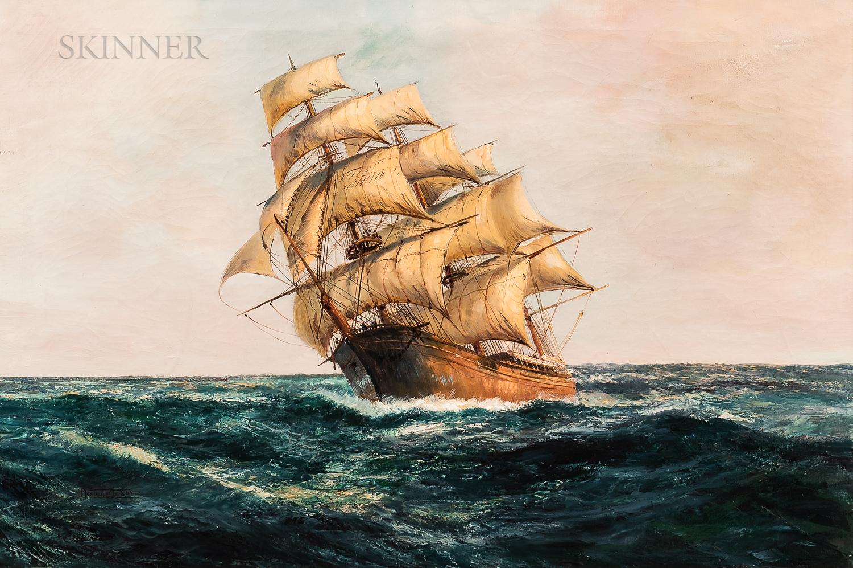 Montague Dawson (British, 1890-1973)      Square-rigged Ship at Sea
