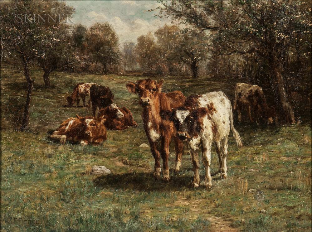 Charles Franklin Pierce (American, 1844-1920)      Cows at Pasture