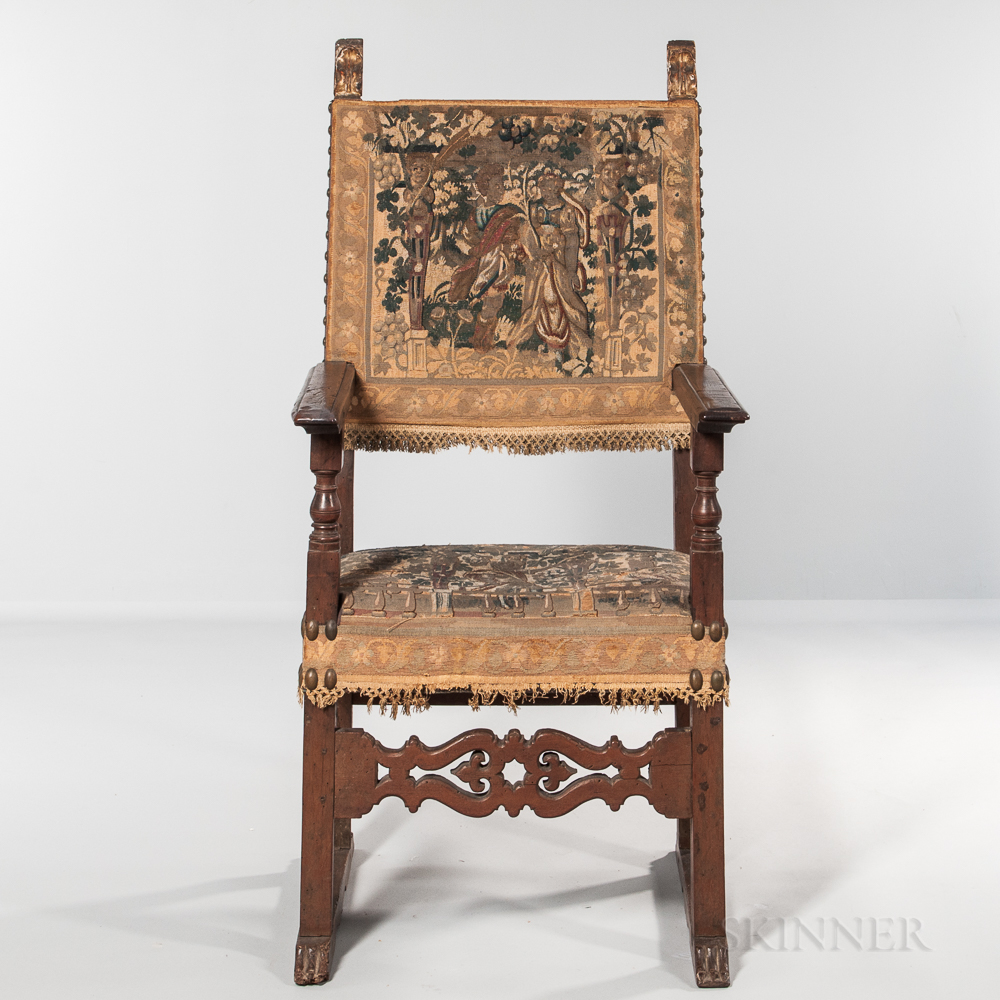 Italian Baroque-style Tapestry-upholstered Open Armchair