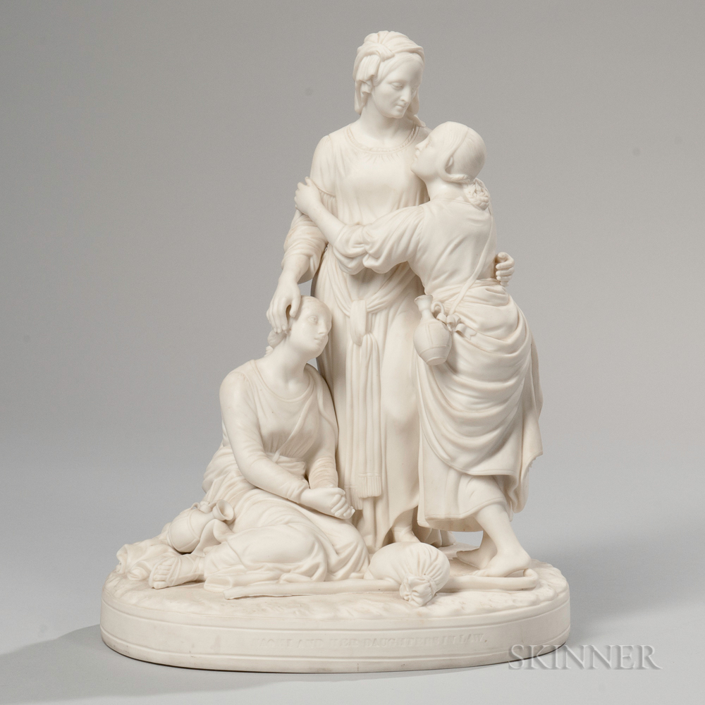 Minton Parian Naomi and Her Daughters In Law   Group