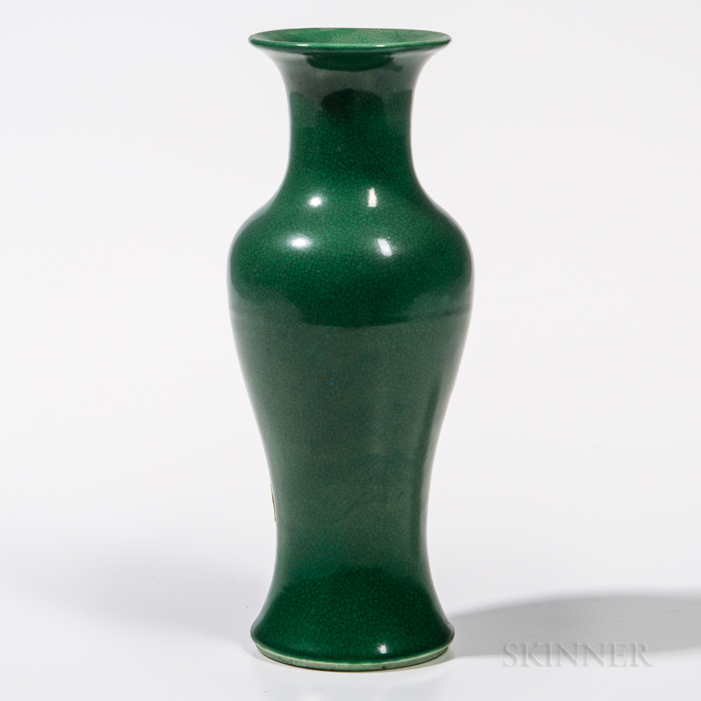 Small Crackled Apple Green-glazed Vase