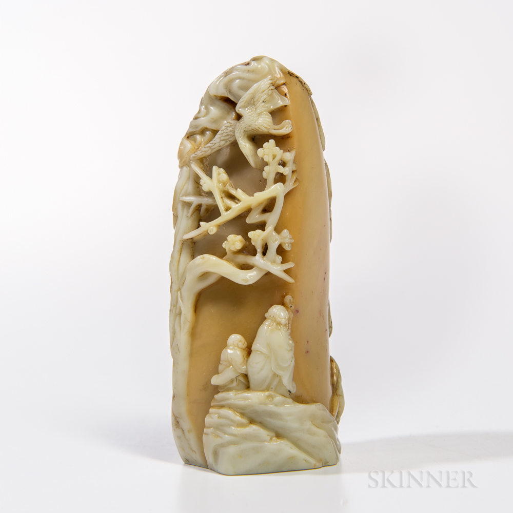 Soapstone Carving of a Craggy Mountain