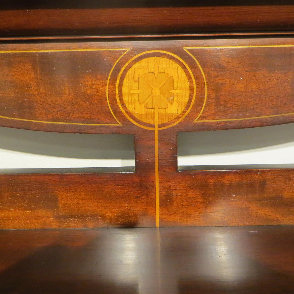 George Montague Ellwood and J.S. Henry Brass and Bronze Inlaid Mahogany and Fruitwood Secretary