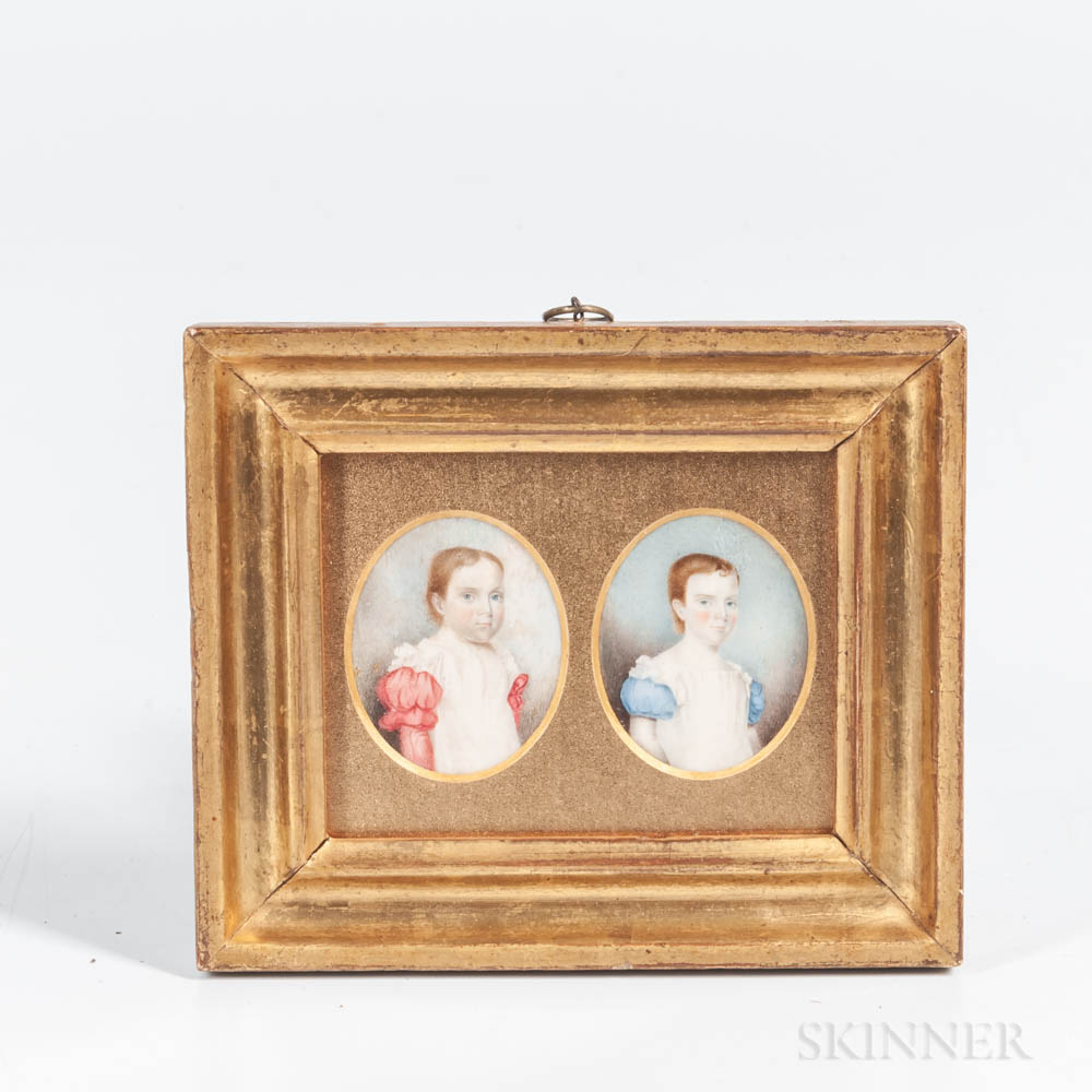 American School, Late 18th Century      Two Portrait Miniatures, Reportedly Children of the Clark Family, Nantucket, Massachusetts