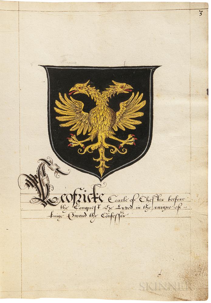 Heraldic Manuscript, Illuminated, England, Late 16th Century.