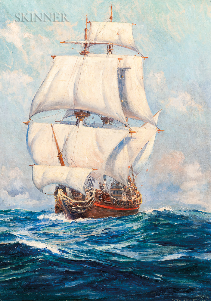 Anton Otto Fischer (American, 1882-1962)      With her great sail spread she thrust her nose into the heavy swell