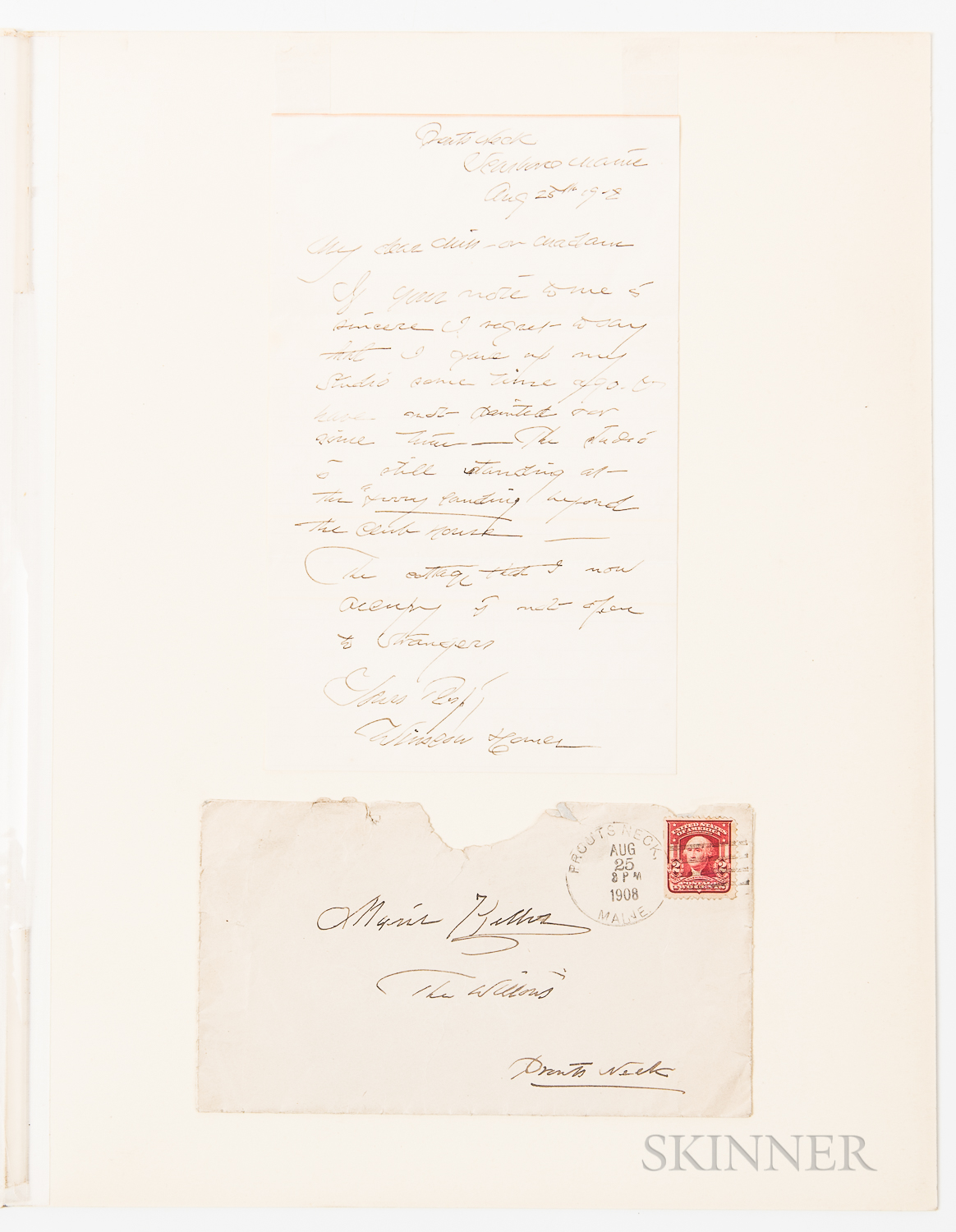 Homer, Winslow (1836-1910) Autograph Letter Signed, Prouts Neck, Scarboro, Maine, 25 August 1908