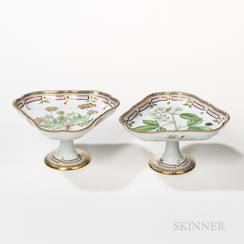 Two Royal Copenhagen Flora Danica Compotes