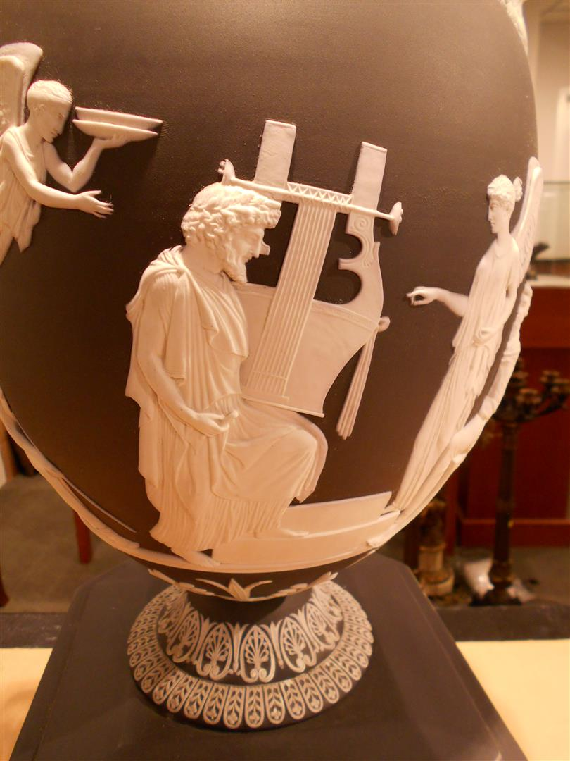 Wedgwood Black Jasper Dip Apotheosis of Homer Vase and Cover