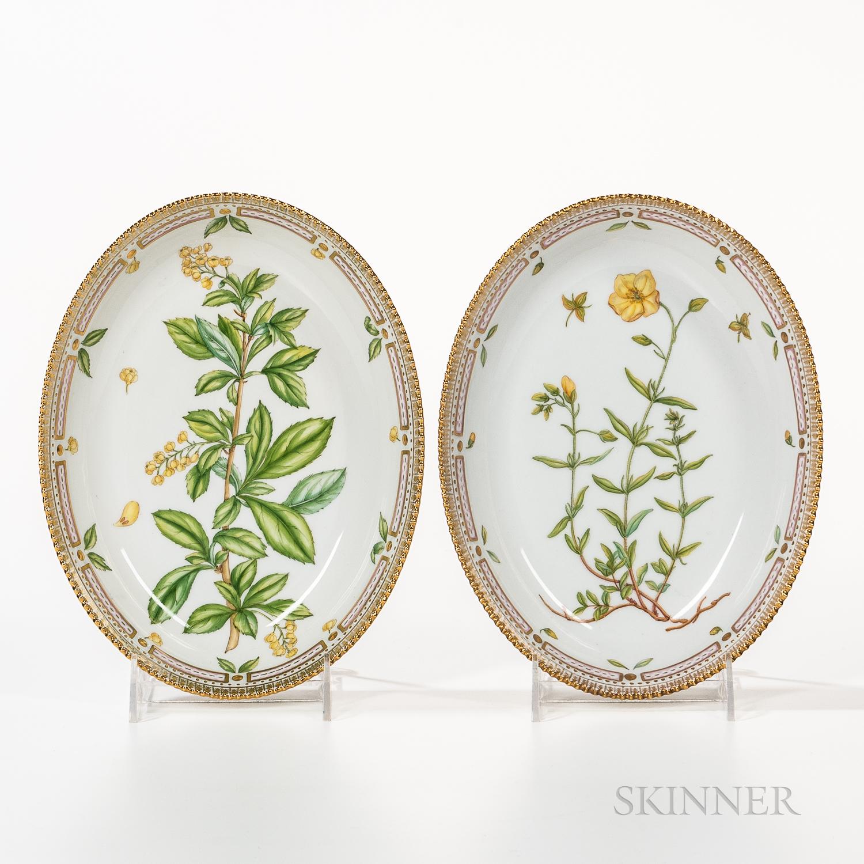Two Royal Copenhagen Flora Danica Serving Bowls