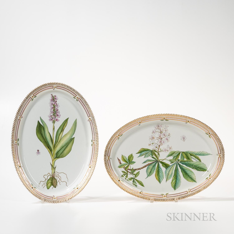 Two Royal Copenhagen Flora Danica Serving Dishes