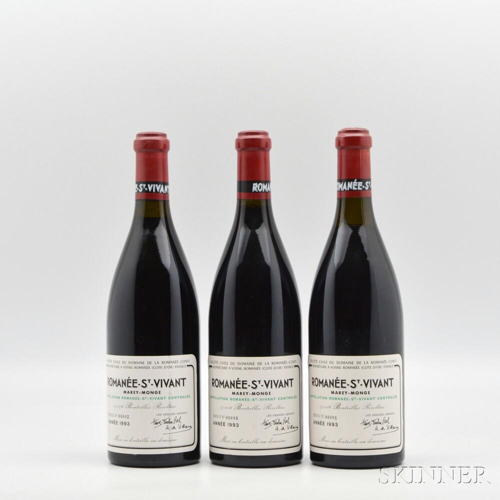 Domaine de la Romanee Conti Romanee St. Vivant Marey Monge 1993, 3 bottles
