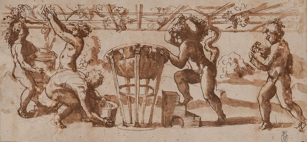 Italian School (Mantuan), 16th Century      Putti Gathering Grapes