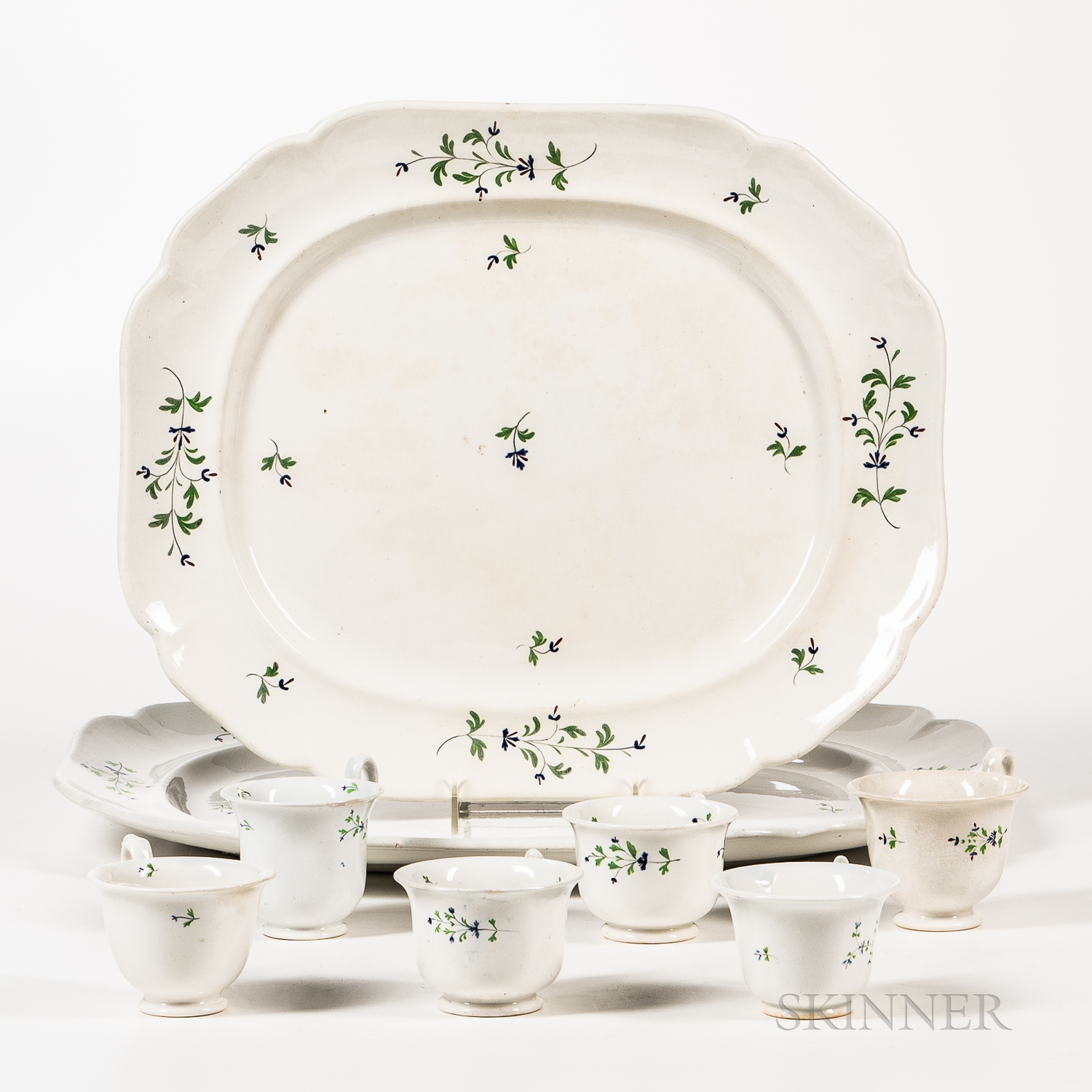 Group of Spring China Cups and Platters