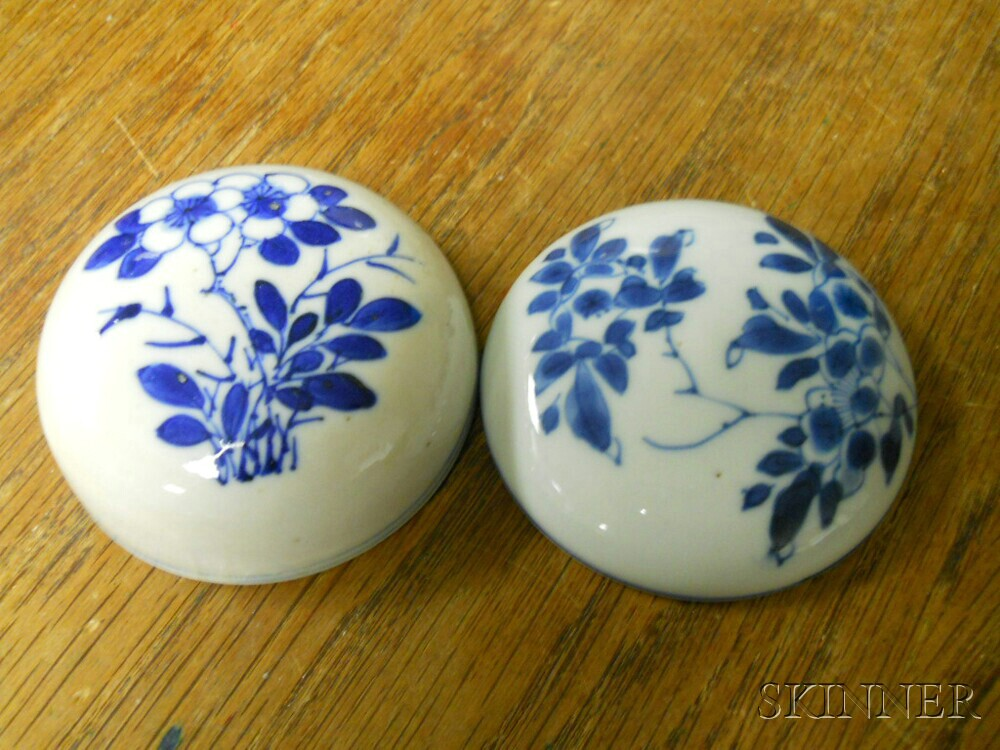 Pair of Blue and White Covered Ginger Jars