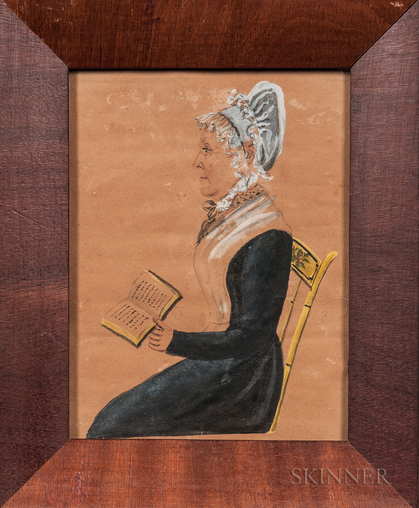 Jacob Maentel (Pennsylvania/Maryland/Indiana/Germany, 1763-1863), Portrait of a Woman in Profile Sitting on a Paint-decorated Chair wit