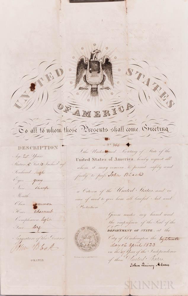 Adams, John Quincy (1767-1848) Signed Passport, 18 April 1823.