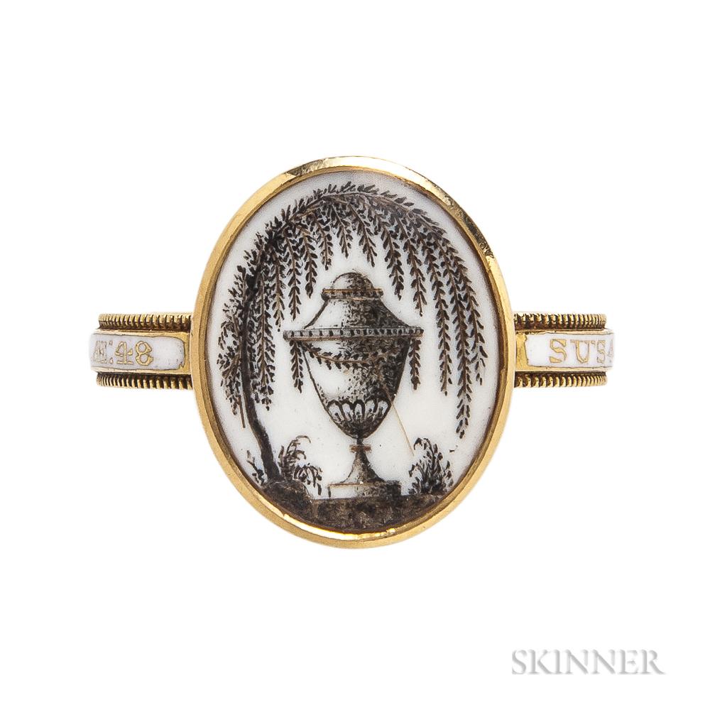 Georgian Gold and White Enamel Mourning Ring