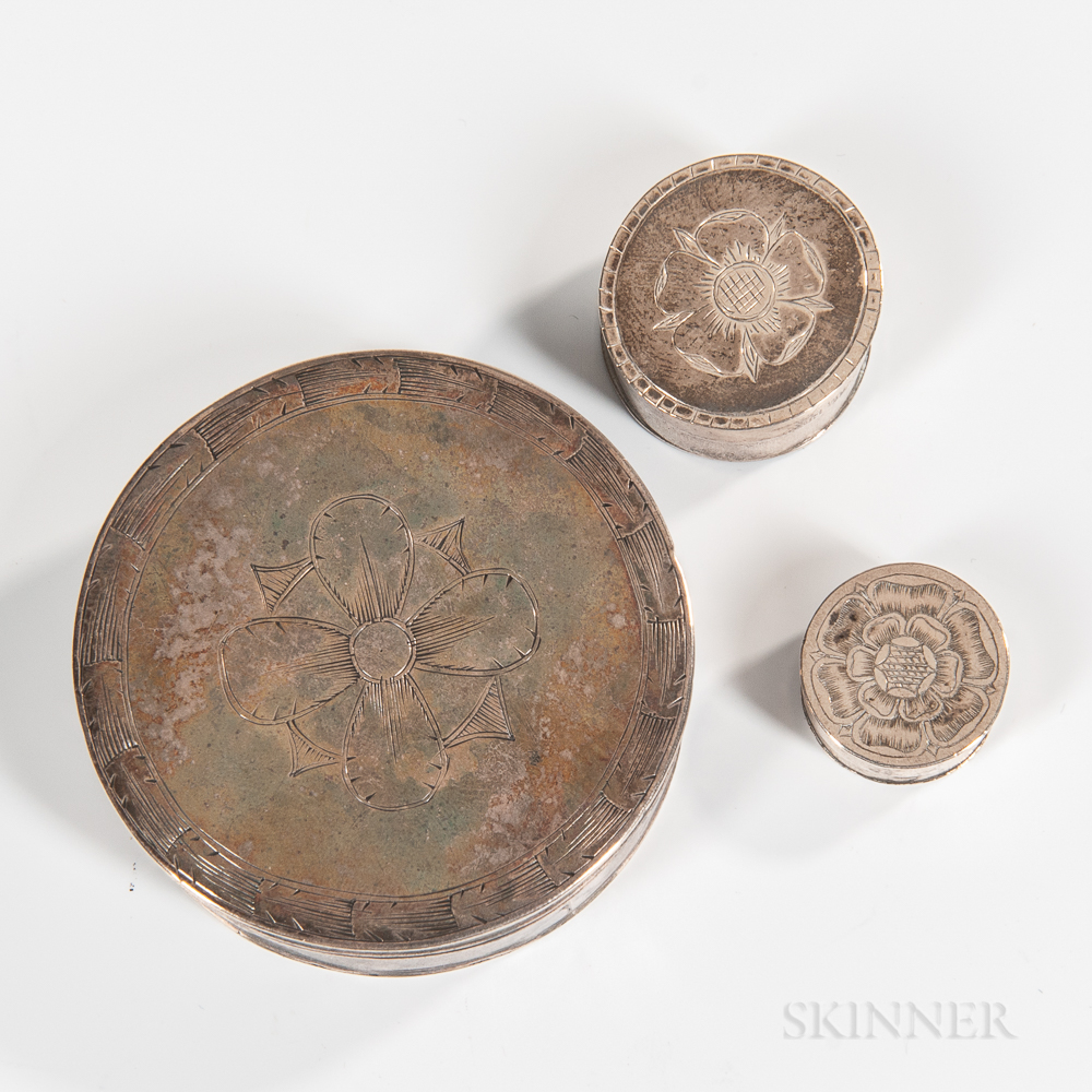 Three Early Silver Boxes