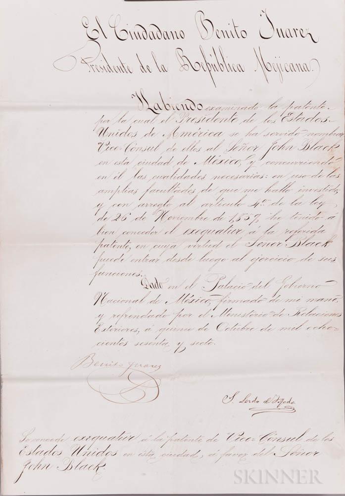 Juárez, Benito (1806-1872) Signed Document, 5 October 1867.
