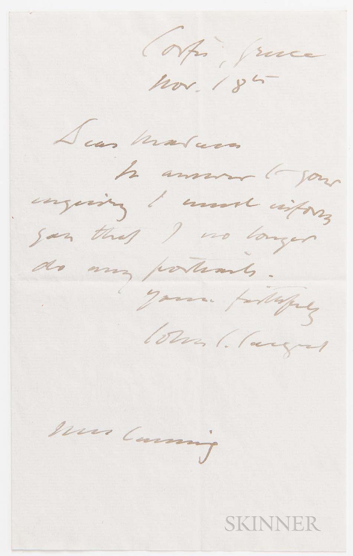 Sargent, John Singer (1856-1925) Autograph Letter Signed, Corfu, Greece, 18 November [after 1910]