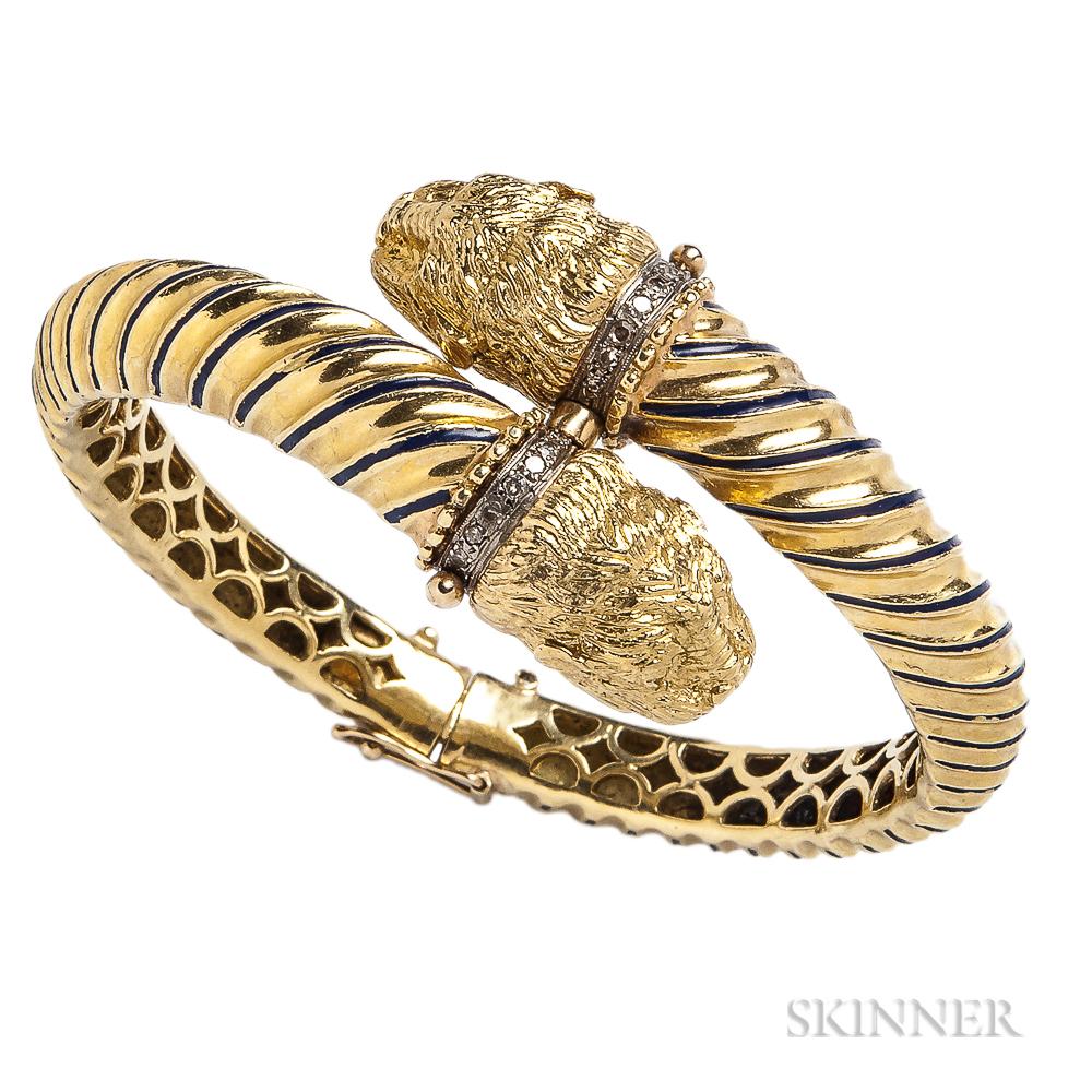 18kt Gold, Enamel, and Diamond Bracelet