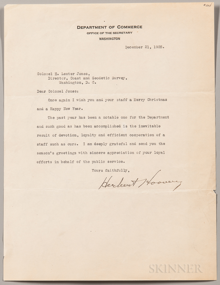 Hoover, Herbert (1874-1964) Three Typed Letters Signed, 1925-1927.