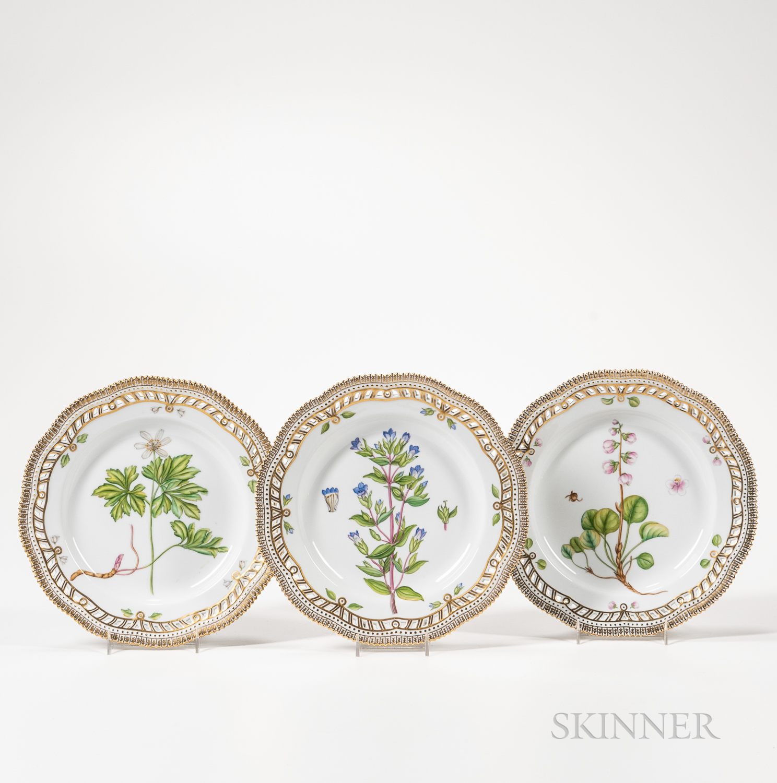 Three Royal Copenhagen Flora Danica Dessert Plates