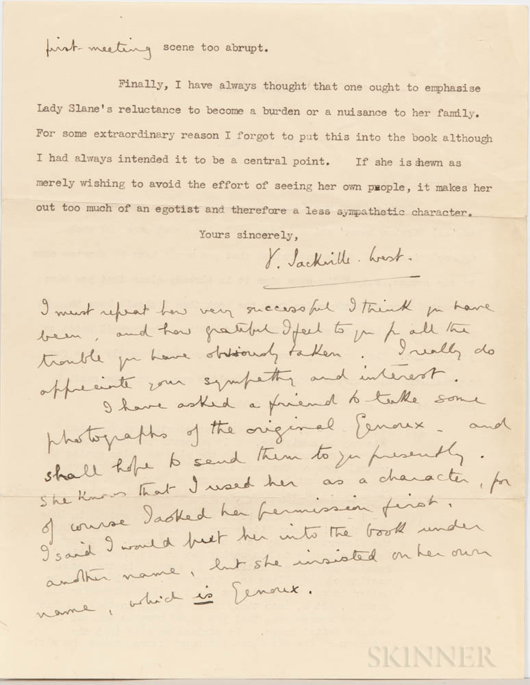 Sackville-West, Vita (1892-1962) Typed Letter Signed with Autograph Post Script, Sissinghurst Castle, Kent, 13 May 1941.