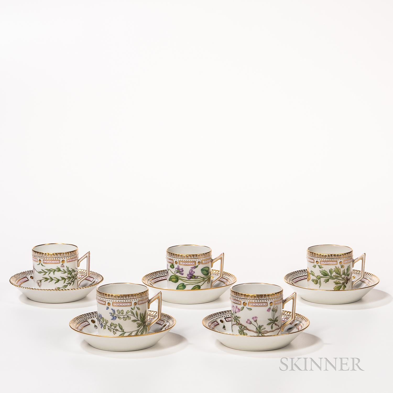 Seventeen Royal Copenhagen Flora Danica Coffee Cups and Saucers