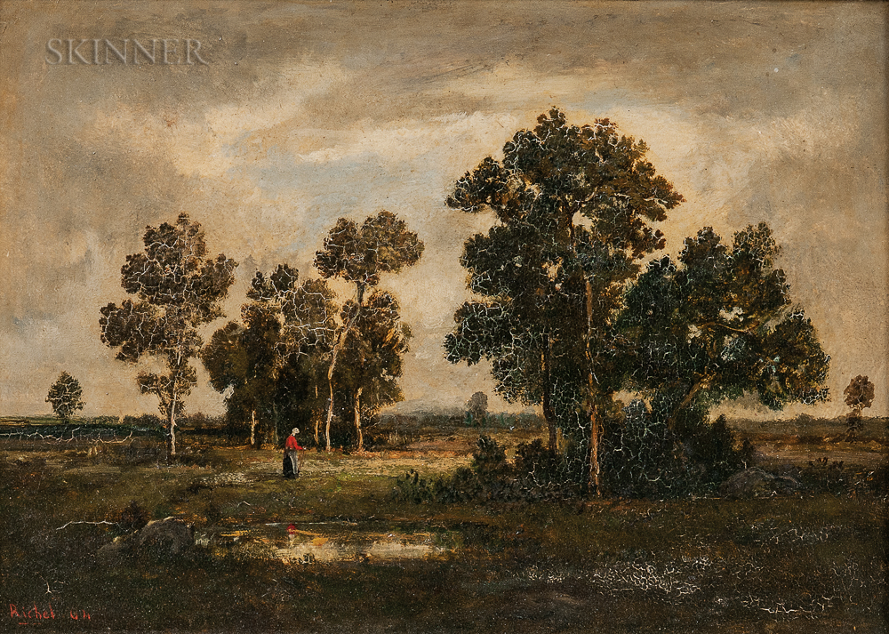 Léon Richet (French, 1847-1907)      Barbizon Landscape with Figure