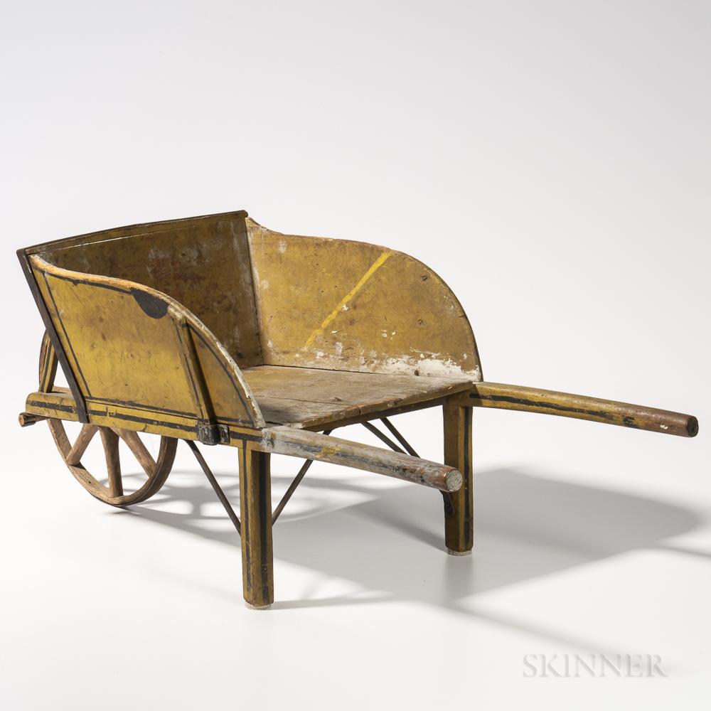 Yellow-painted Child's Wheelbarrow
