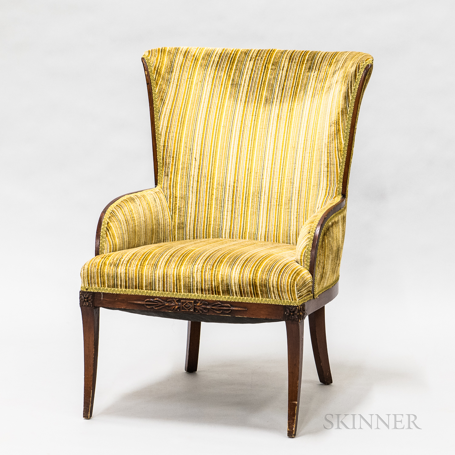 Art Moderne Mahogany and Upholstered Armchair