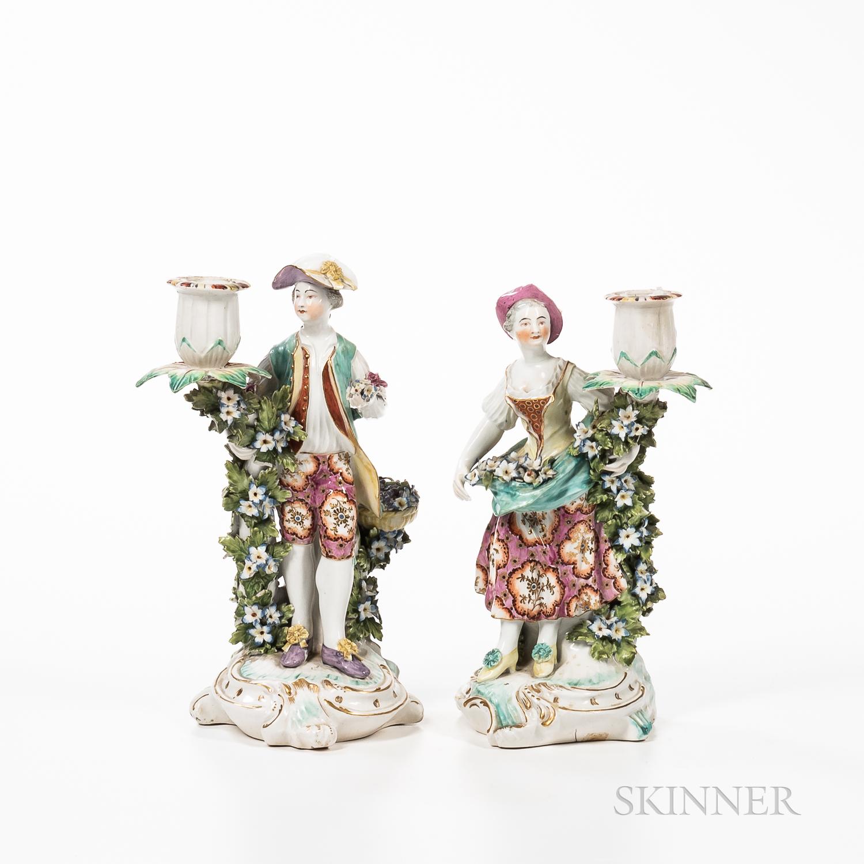 Pair of Chelsea Porcelain Figural Candlesticks