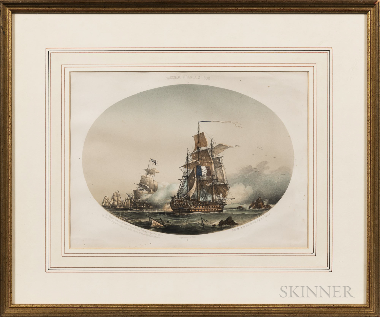Five Framed Prints of Historic Naval Vessels and Battles:, Vaisseau Francaise 1806, Capture of the Cleopatra by the Nymphe, Battle Betw
