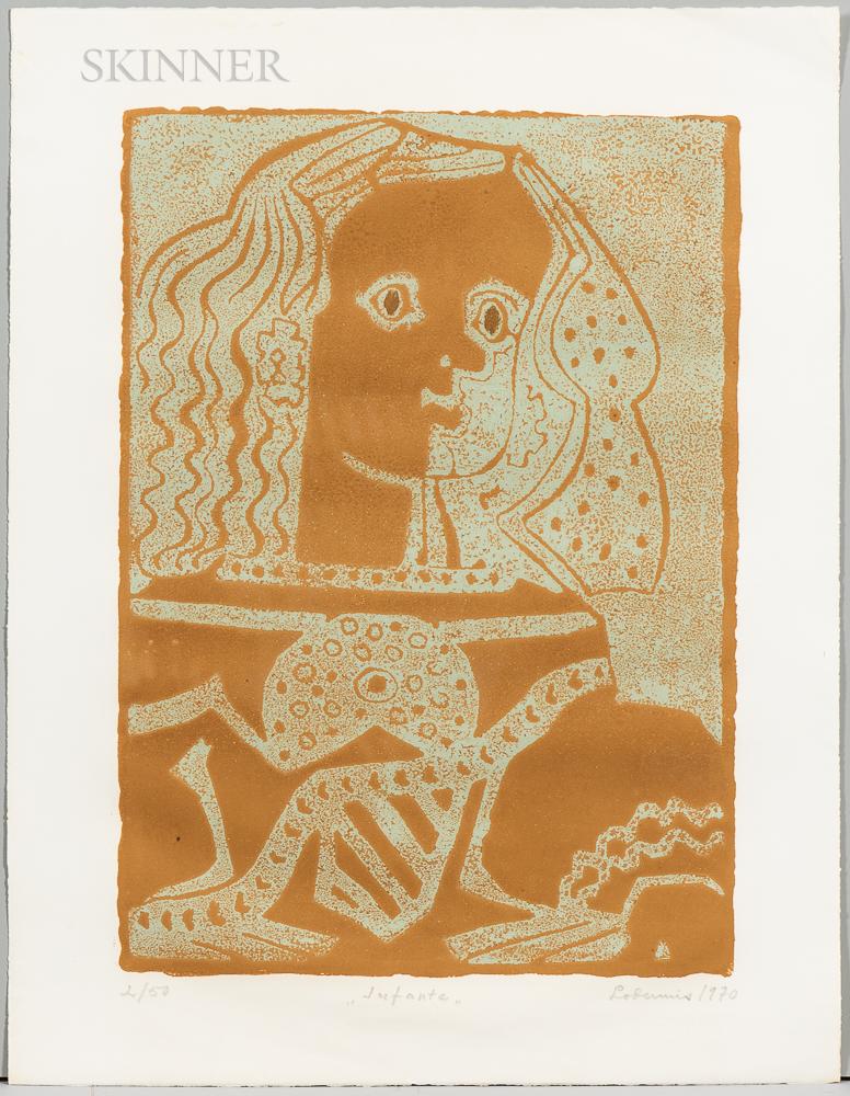 "Franco/American School, 20th Century      Five Screenprints: Eventail rose, Compotier noir, ""Infante,"" ""Pegase,"""