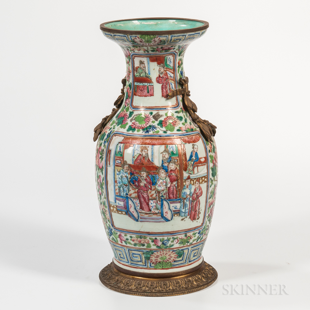 Large Rose Medallion-style Enameled Vase