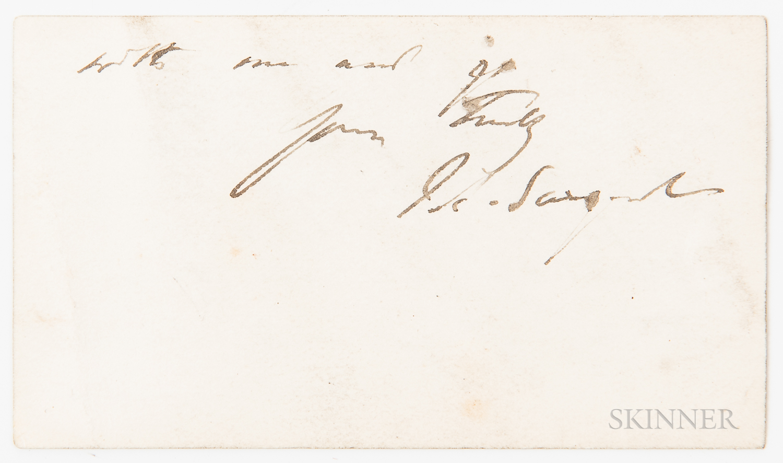 Sargent, John Singer (1856-1925) Autograph Note Signed