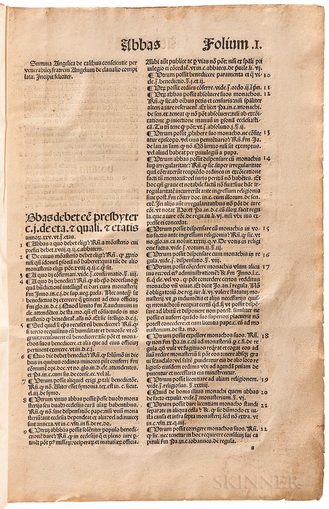 Angelus de Clavasio [aka Angelo Carletti di Chivasso] (1411-1495) ed. Hieronymus Tornieli (c. 1490) Summa Angelica de Casibus Conscient