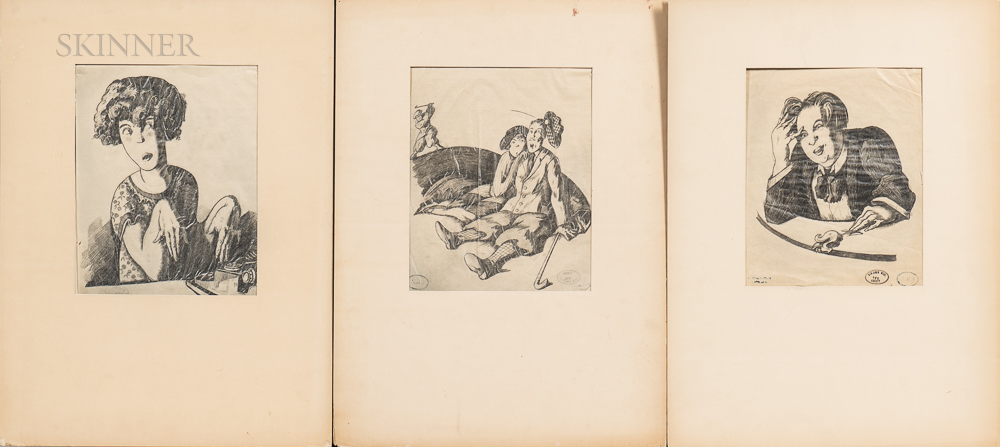 Three Satirical Drawings from the Collection of Frank Crowninshield:      Typist ,  The Disturber of the Peace of Bunkers